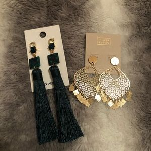 BUNDLE: 2 gorgeous Express earrings gold and green